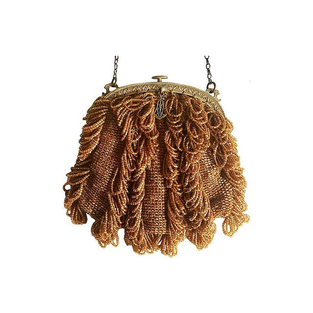 1920s Vintage Topaz Glass Beaded Purse For Sale - Image 4 of 4
