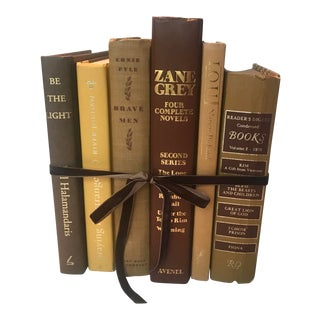 20th Century Americana Autumn Gold and Brown Book Bundle - 6 Pieces For Sale
