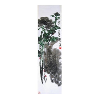 Vintage Chinese Hanging Scroll Painting Black Peony by Zhu Qizhan For Sale