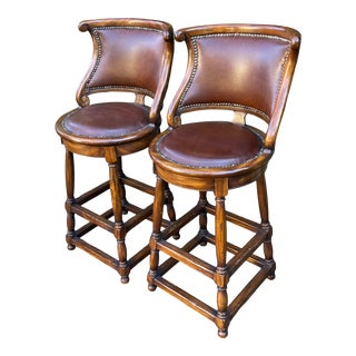 Alfonso Marina Ebanista Spanish Colonial Leather Bar Stools - a Pair For Sale