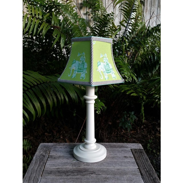 Green Lilly Pulitzer Fabric Clip on Coastal Elephant Lampshade For Sale In West Palm - Image 6 of 11