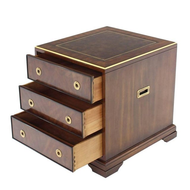 Heritage Furniture Three Drawer Campaign Style Three-Drawer Chest Occasional Cabinet Stand Table For Sale - Image 4 of 10