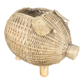 Wicker Pig Planter For Sale