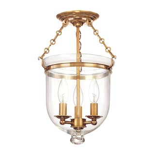 Hampton 3 Light Semi Flush - Aged Brass For Sale