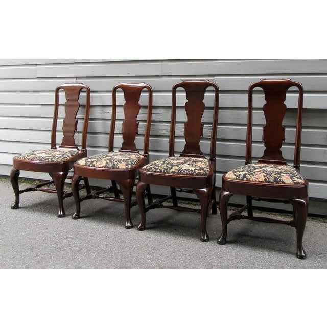 Set of Four 19th Century English Queen Anne Mahogany Splat Back Dining Chairs - Image 3 of 10