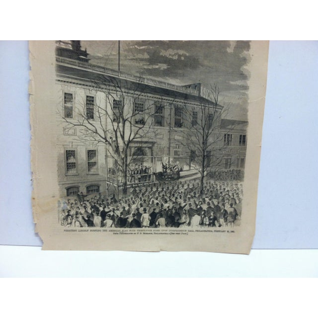 """American 1861 Antique """"President Lincoln Hoisting the American Flag With Thirty-Four Stars Upon Independence Hall"""" Harper's Weekly Print For Sale - Image 3 of 6"""