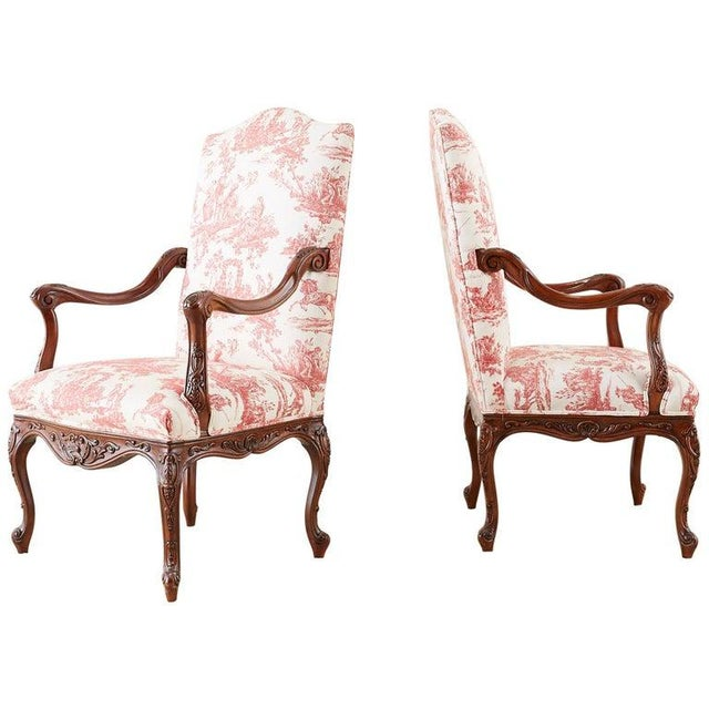 Pair of French Provincial Style Walnut Toile Fauteuil Armchairs For Sale - Image 13 of 13