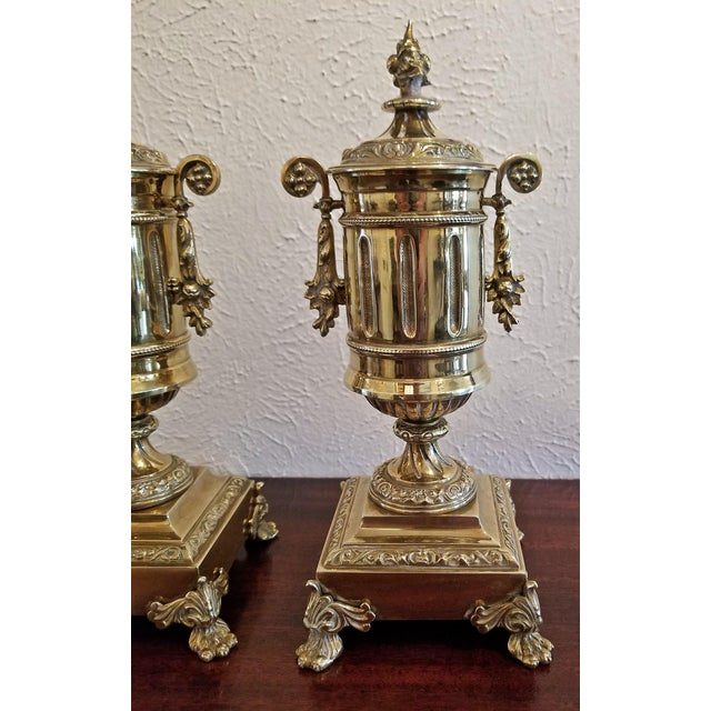 Pair of 19c French Neoclassical Style Brass Garnitures For Sale - Image 9 of 13