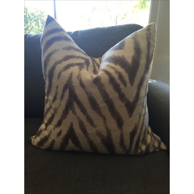 Barclay Butera Brown & White Zebra Pillows - Pair - Image 3 of 6