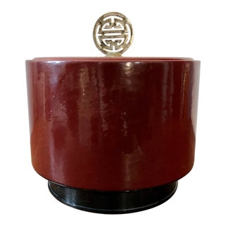 Vintage Chinese Oxblood Red Ice Bucket For Sale