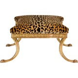 Image of Gilt Wood and Leopard Klismos Style Bench For Sale