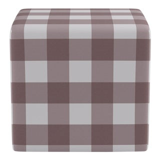 Cube Ottoman in Rose Check For Sale