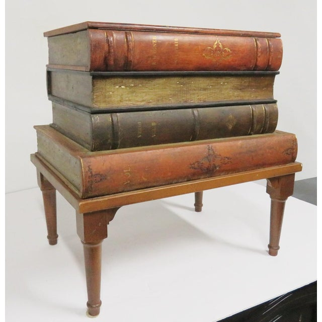 Traditional French Style Leather Book Stack Side Table For Sale - Image 3 of 7