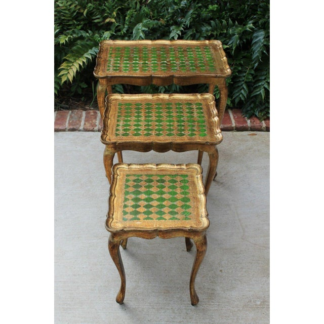 Vintage Italian Gold & Green Tole Nesting Tables Gilt Florentine Set of 3 For Sale - Image 11 of 13