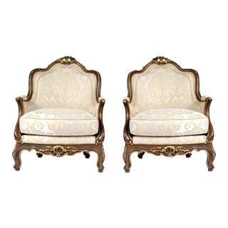 1880s Antique Louis XV-Style Carved Bergères - a Pair For Sale