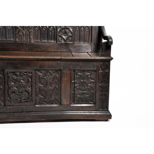 17th Century French Gothic Oak Hall Bench For Sale - Image 9 of 13