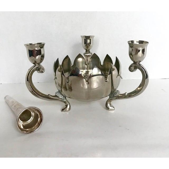 Reed & Barton Vintage Silver Plate Lotus Flower Vase and Candelabra For Sale - Image 4 of 4