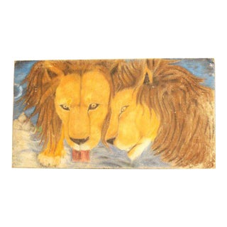 Lions Lapping Watercolor Painting For Sale