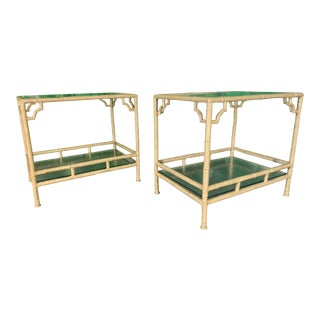 Faux Bamboo Metal Patio End Tables by Meadowcraft For Sale