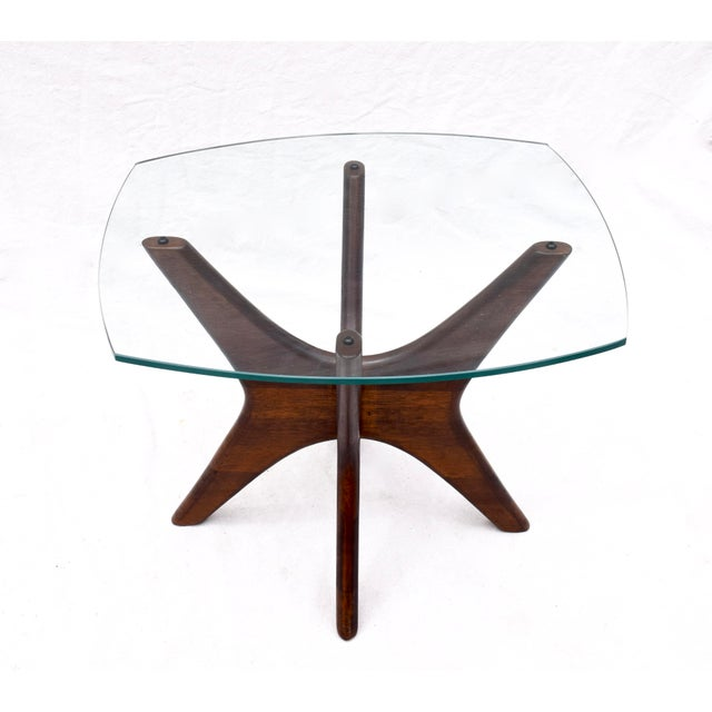 "Adrian Pearsall solid walnut Jacks side table with 3/8"" thick original glass top having an ever so small chip on the..."
