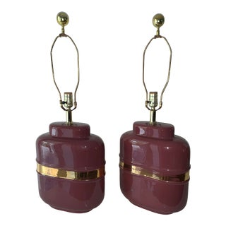 1980's Modern Abstract Form Mauve and Gold Lamps - a Pair For Sale