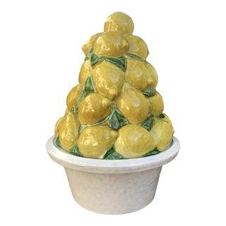 Vintage Terra Cotta Lemon Bowl & Topiary Centerpiece For Sale