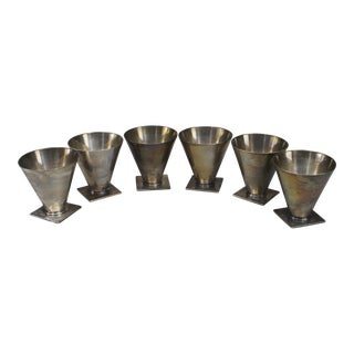 American Art Deco Sterling Silver Small Tapered Cone Shaped Cordial Cups- Set of 6 For Sale