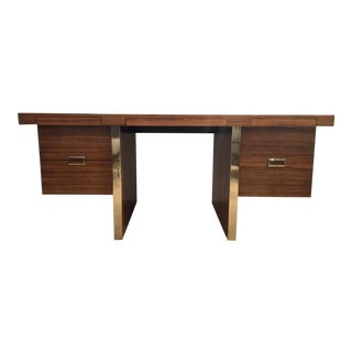 Maitland-Smith Mid-Century Modern Style Large Wood and Metal Writing Desk For Sale