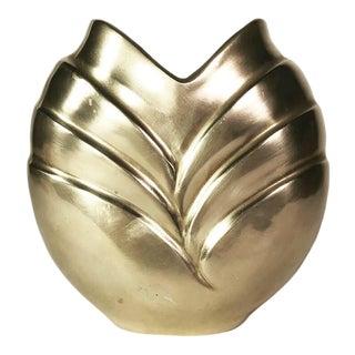 1980s Art Deco Revival Hollywood Regency Brass Petal Vase For Sale