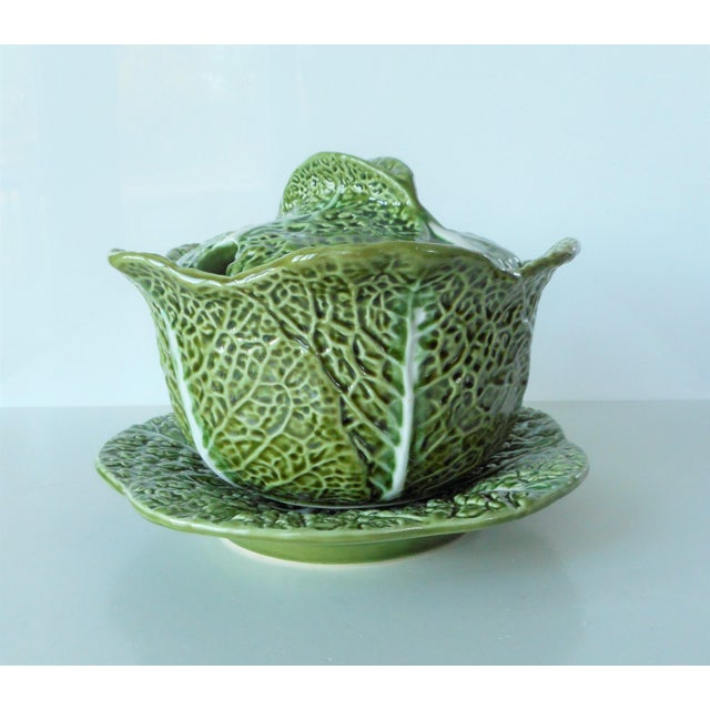 Vintage Majolica Green Cabbage Soup Tureen & Underplate For Sale - Image 9 of 9