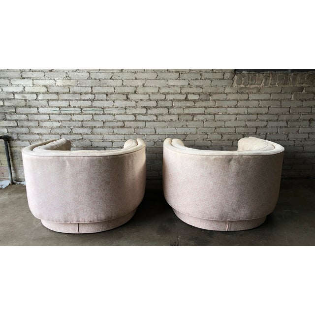 Textile Vintage Mid-Century Milo Baughman Style Tufted Barrel Chairs - A Pair For Sale - Image 7 of 10