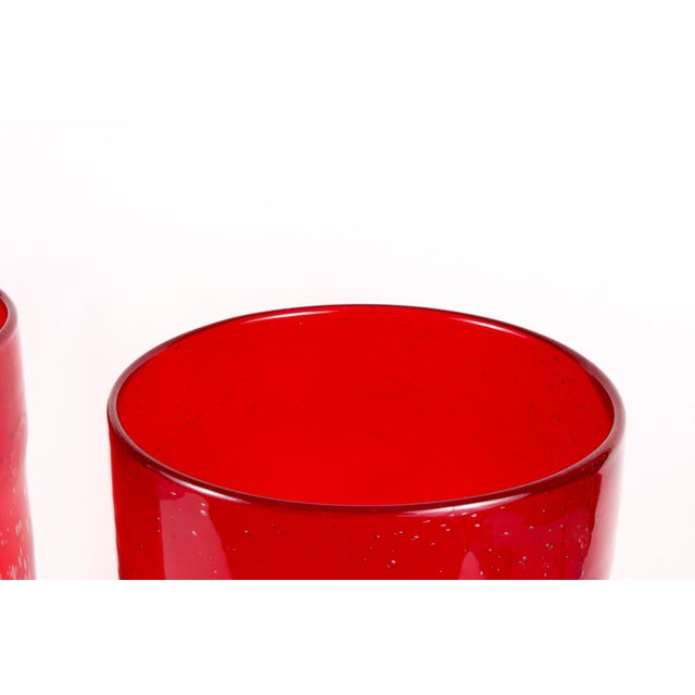 Cranberry Red Hurricane Vases- a Pair For Sale - Image 4 of 9
