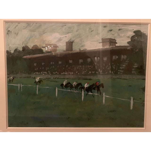 1970s 1970s Vintage Horse Race on the Green Track Framed Original Painting For Sale - Image 5 of 13