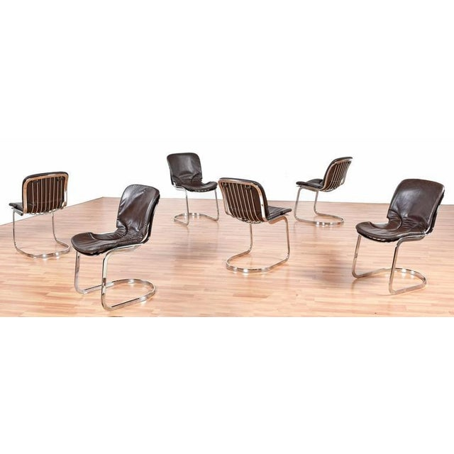 Cidue Cidue Chrome and Leather Dining Chairs - Set of 6 For Sale - Image 4 of 8