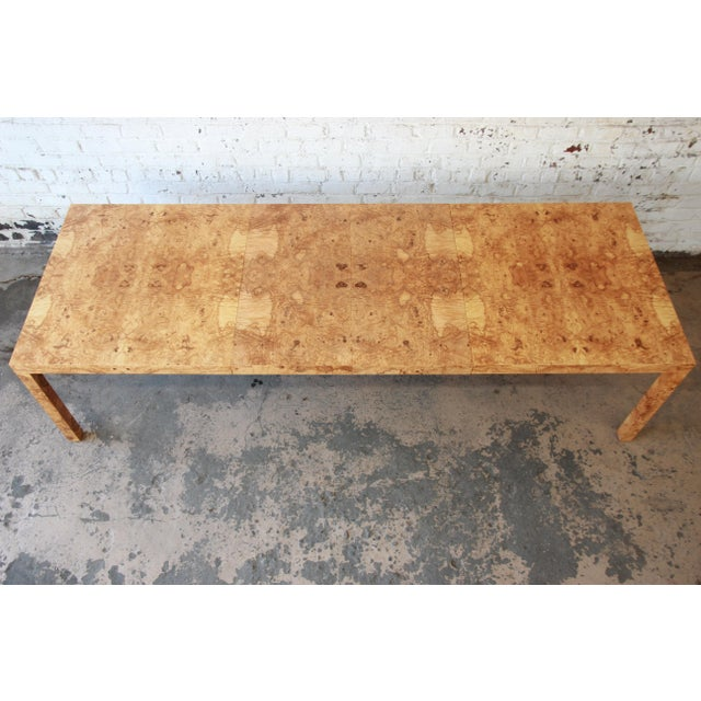 Milo Baughman for Directional Burl Wood Parsons Extension Dining Table - Image 3 of 11