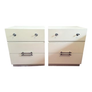 Mid-Century White Lacquer Nightstands - a Pair For Sale