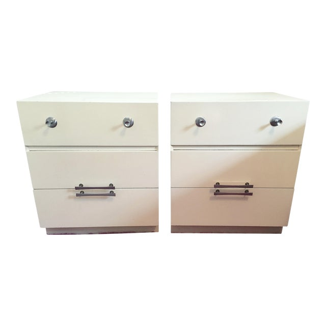 Mid-Century White Lacquer Nightstands - a Pair - Image 1 of 9