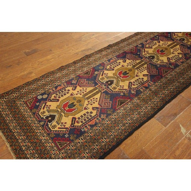 "Navy Blue Tribal Afghan Balouch Rug - 3'1"" x 9'2"" - Image 4 of 8"