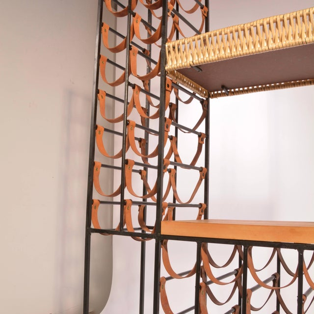Metal Arthur Umanoff Leather and Iron Wine Rack For Sale - Image 7 of 8