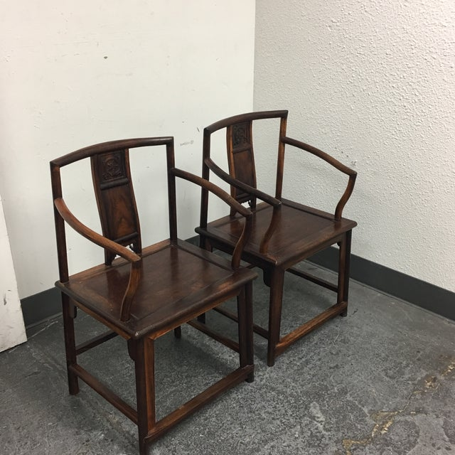 Chinese Rosewood Arm Chairs- A Pair - Image 4 of 9