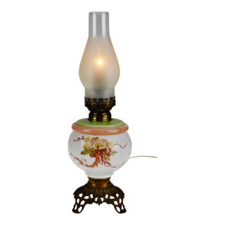 Vintage M. B. Co. Arctic No. 3 Electrified Oil Table Lamp For Sale