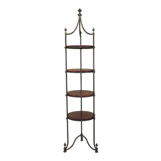 Traditional Labarge Leather Tiered Brass Etagere For Sale