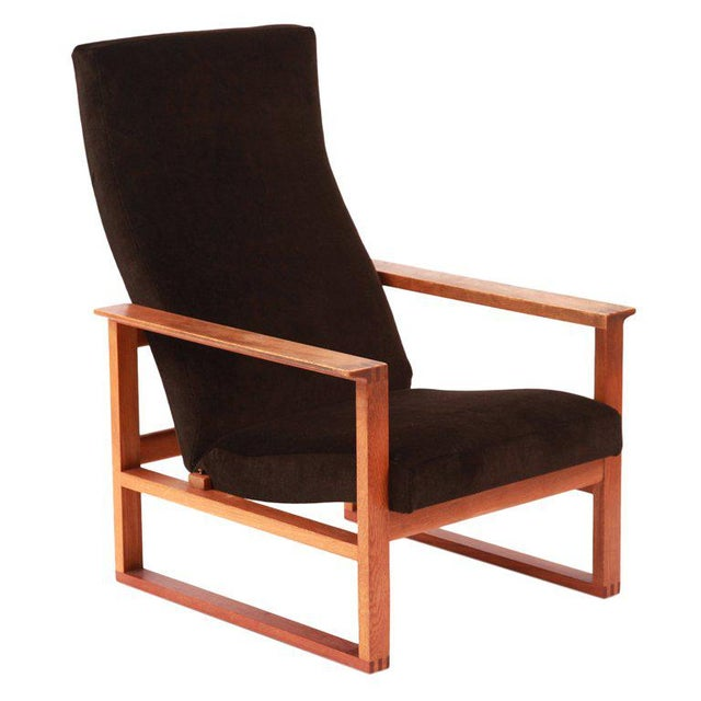 Mohair Børge Mogensen Adjustable Oak and Mohair Lounge Chair For Sale - Image 7 of 7