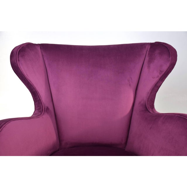 Mid 20th Century Italian Mid-Century Velvet Armchairs by ISA Bergamo, Set of Two, 1950s For Sale - Image 5 of 13
