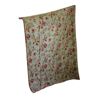 French Cretonne Floral Design Small Piquee Boutis Quilt For Sale