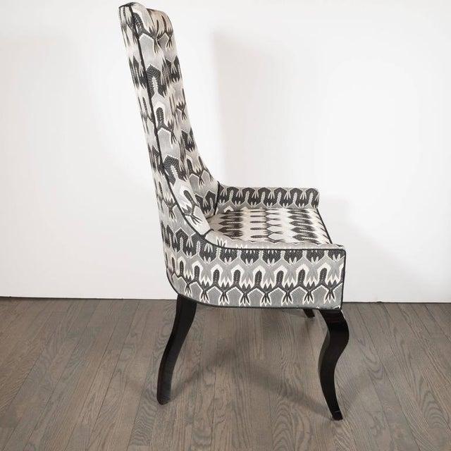 This elegant aMid-Century Modern high back/ desk chair has cabriole ebonized walnut legs, and a subtle hourglass shaped...