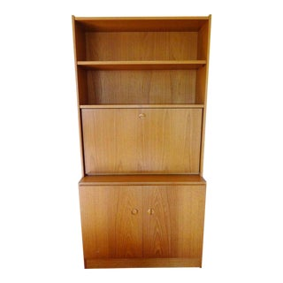 1970s Danish Modern Teak Secretary Desk For Sale