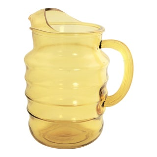 Vintage Kitchenware Mold Blown Ribbed Yellow Glass Pitcher With Ice Lip For Sale