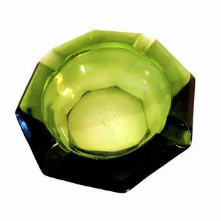 1970s Large Translucent Green and Jeweltone Amber Glass Game Table Ashtrays - a Pair Preview