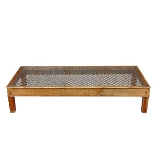 Large Metal Grill Top Coffee Table For Sale